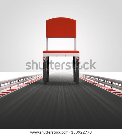free chair seat on race track way illustration - stock photo