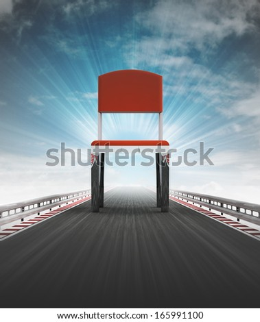 free chair seat on race track way with sky flare illustration - stock photo