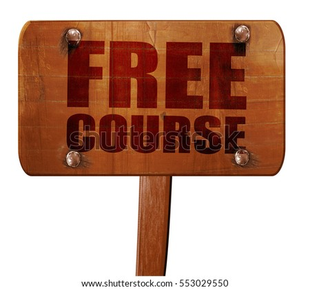 free course, 3D rendering, text on wooden sign