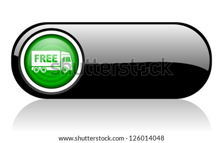 free delivery black and green web icon on white background