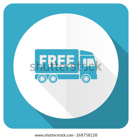 free delivery blue flat icon transport sign  - stock photo