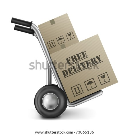 free delivery brown cardboard box on hand or sack truck sending online order from internet shop free shipment or shipping package or parcel isolated on white background - stock photo