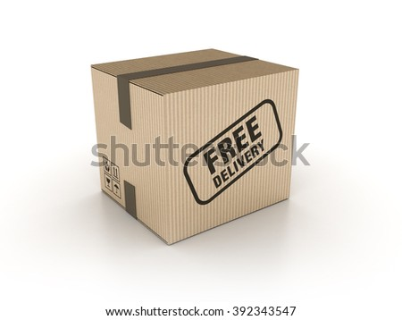 Free Delivery Cardboard Box on White Background - High Quality 3D Render