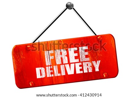 free delivery, 3D rendering, vintage old red sign - stock photo