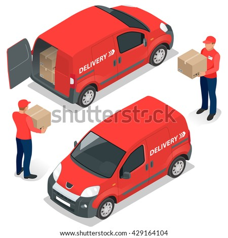 Free delivery, Fast delivery, Home delivery, Free shipping, 24 hour delivery, Delivery Concept, Express Delivery, delivery man. Flat 3d isometric illustration - stock photo