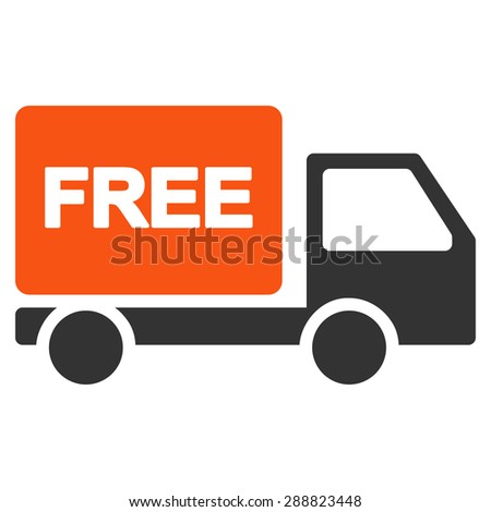 Free delivery icon from Business Bicolor Set. This flat raster symbol uses orange and gray colors, rounded angles, and isolated on a white background. - stock photo