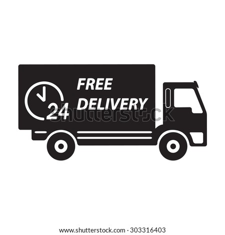 Free delivery icon. Symbol of car carrying cargo, 24 hour.
