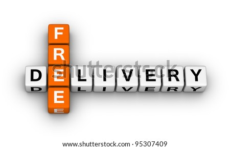 free delivery label for online store - stock photo