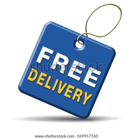 free delivery or package shipping from internet web shop order, webshop button or sticker