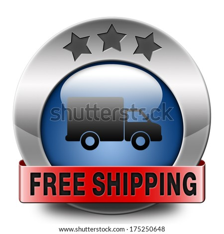 free delivery or package shipping from internet web shop order, webshop button or sticker blue red metal icon or button  - stock photo