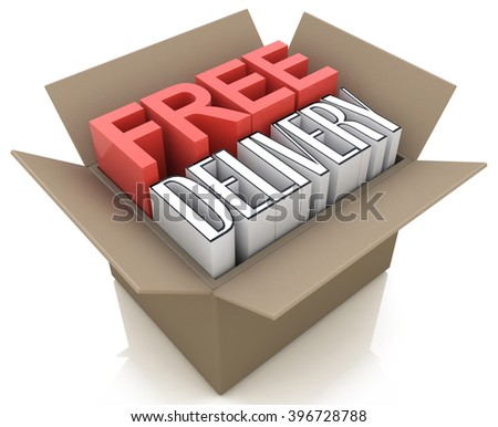 Free delivery package from shipping online internet webshop, cardboard box as webshop shopping - 3D rendered illustration - stock photo
