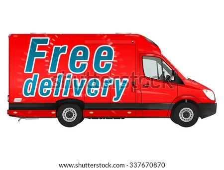 Free delivery. Red courier van on the white background. Raster illustration. - stock photo