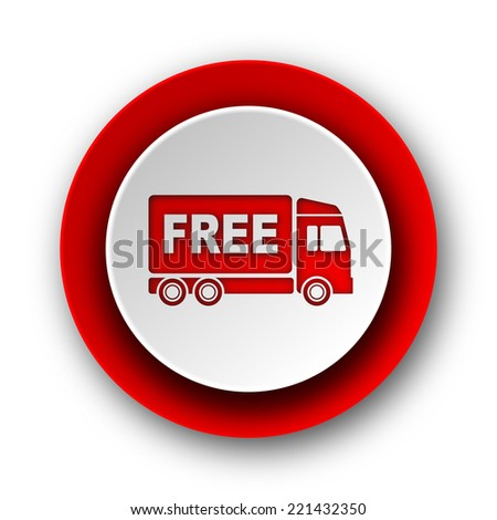free delivery red modern web icon on white background  - stock photo