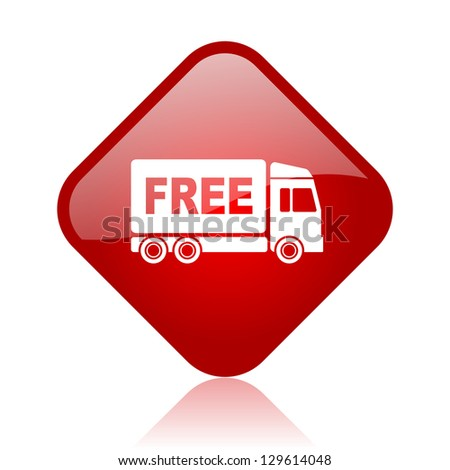 free delivery red square glossy web icon - stock photo