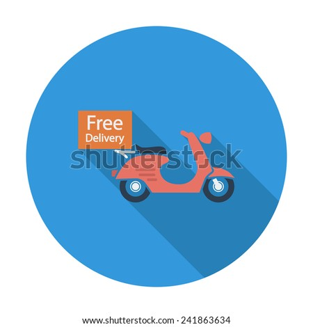 Free Delivery. Single flat color icon.  illustration. - stock photo