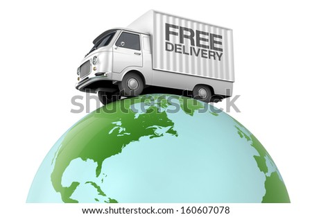 Free delivery, small truck driving over the planet earth - stock photo