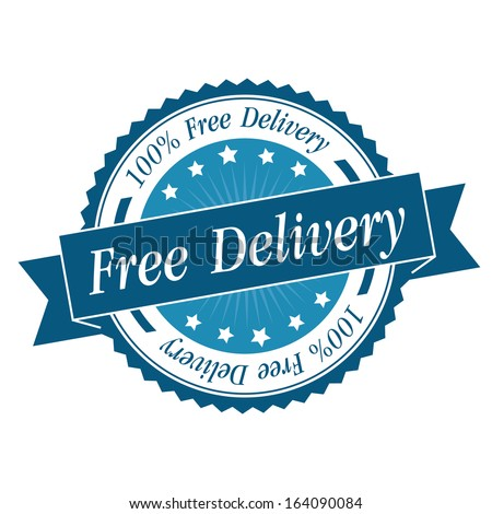 Free delivery stamp, sticker, tag, label, sign, icon with blue color.JPG - stock photo