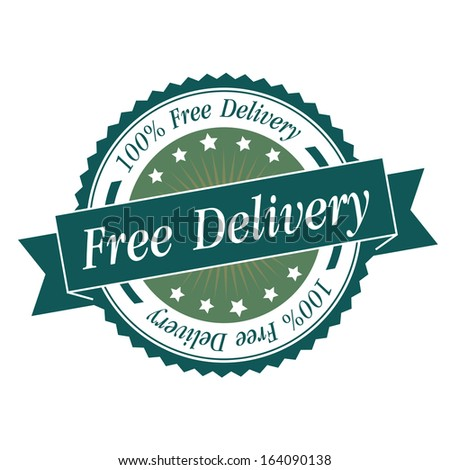 Free delivery stamp, sticker, tag, label, sign, icon with green color.JPG - stock photo