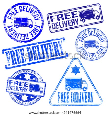 Free delivery stamps. Different shape rubber stamp illustrations  - stock photo