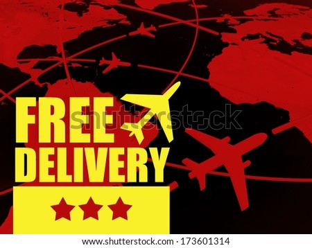 Free delivery transport concept, airlines on world map - stock photo