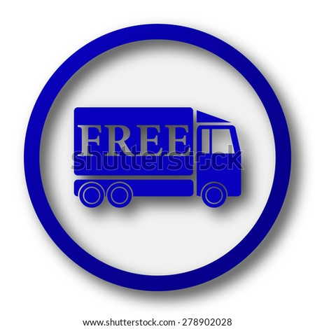 Free delivery truck icon. Blue internet button on white background.  - stock photo