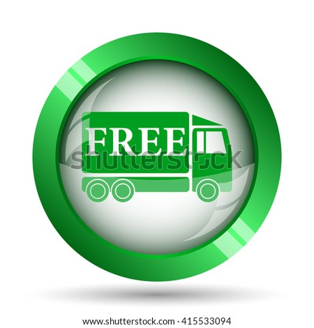 Free delivery truck icon. Internet button on white background.