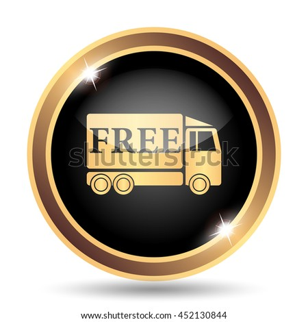 Free delivery truck icon. Internet button on white background. - stock photo