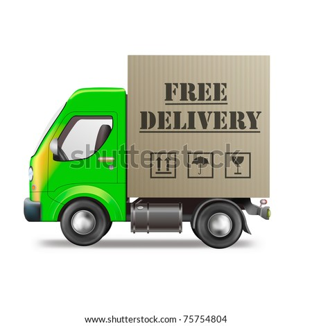 free delivery truck online order shipping from online internet store package sending delivering parcel package delivery free shipping - stock photo