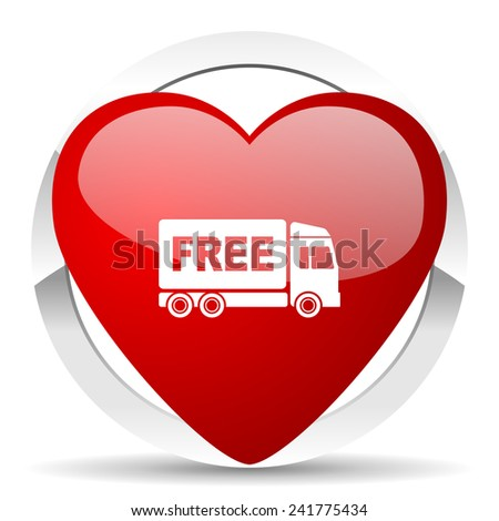 free delivery valentine icon transport sign  - stock photo