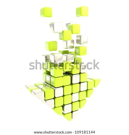 Free download arrow icon emblem made of bright green and silver metal segments isolated on white - stock photo