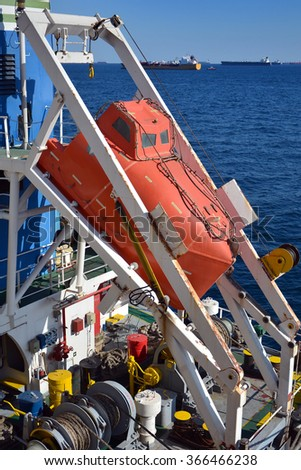 free-fall lifeboat on deck of chemical tanker