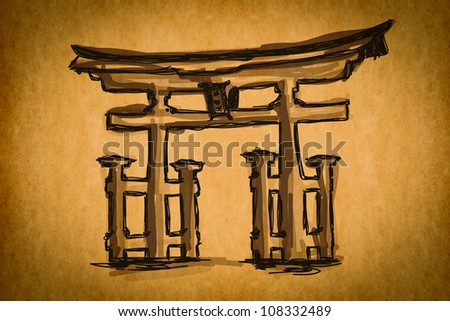 Free hand sketch collection: Japan Traditional Gate, Japan on old paper texture