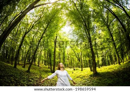 Free Happy Woman Enjoying Nature. Beauty Girl Outdoor.  - stock photo