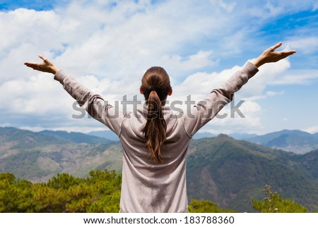 Free happy woman enjoying nature. Freedom concept. Enjoyment.