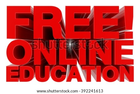 FREE ! ONLINE EDUCATION red word on white background 3d rendering