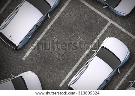 Free Parking Spot Between Other Cars. Top View. Urban Transportation Illustration. - stock photo