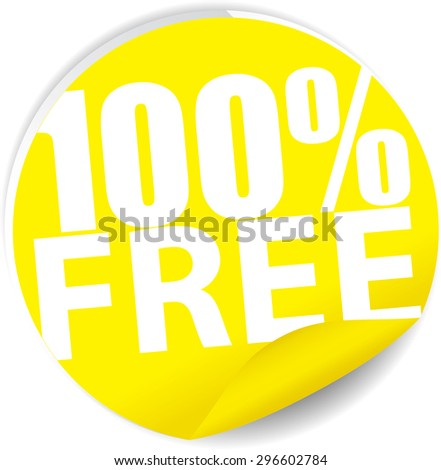 Free 100 percent text on yellow sticker, label, sign and icon. - stock photo