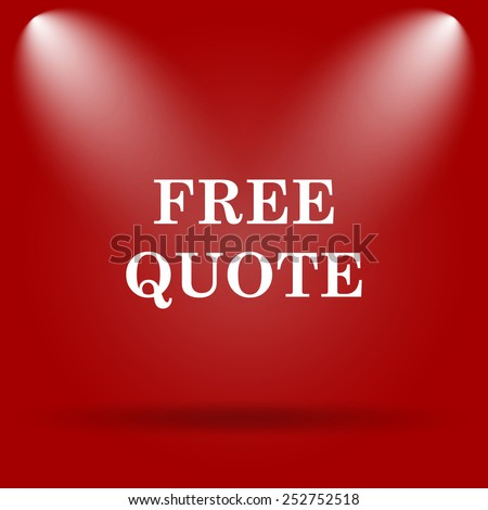 Free quote icon. Flat icon on red background.  - stock photo