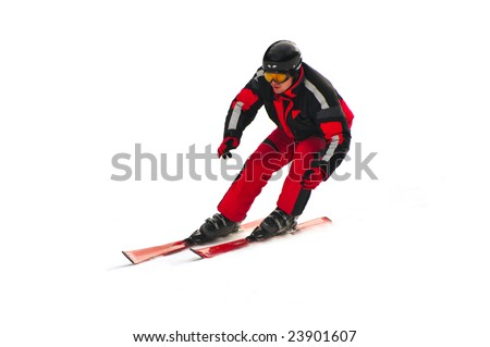 Free-rider skiing on the mountain  isolated on white