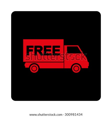 Free shipment icon. Glyph style is intensive red and black colors, flat rounded square button on a white background.