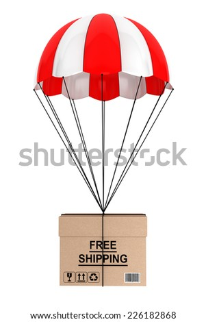 Free Shippimg Concept. Parachute with Box on a white background - stock photo