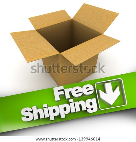 Free shipping banner with an open box - stock photo