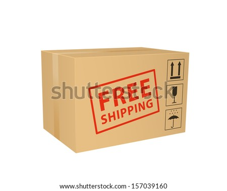 Free shipping box. 2d illustration. - stock photo