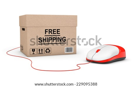 Free Shipping Concept. Free Shipping Box connected to a Computer Mouse on a white background - stock photo