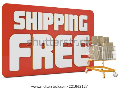 free shipping 3d text with a shopping cart and boxes