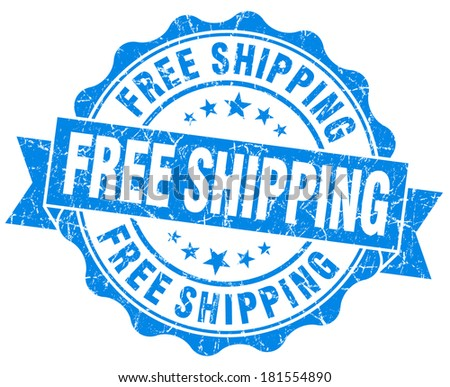 Free shipping grunge blue vintage round isolated seal - stock photo