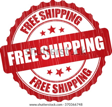 Free shipping grunge rubber stamp. - stock photo