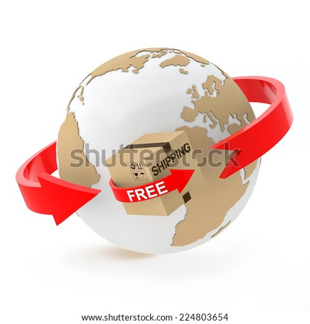 Free shipping over the globe on white background - stock photo