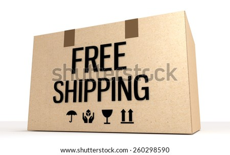 Free shipping package box isolated on white.