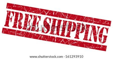 Free shipping red grunge stamp - stock photo
